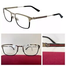 NEW GUCCI MEN GG0135O 006 55-19-140 SILVER BLACK EYEGLASSES FRAMES w/ WEB ARMS