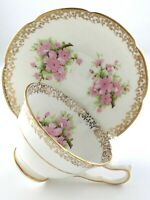 Vintage Teacup Saucer Collingwoods Bone China England Cherry Blossoms T026