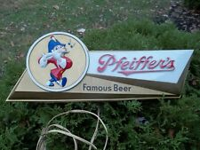 1950s / 60s, ( Johnny ) Pfeiffer'S, Molded Plastic, Lighted Beer Sign * Bright !