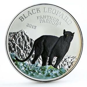 Congo 1000 francs Wildlife Black Leopard Cat colored silver coin 2013