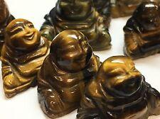 "Lot Of 3 Handcarved Buddha Tiger eye Quartz NonDrilled 1"" Gem Loose Stone Rare"