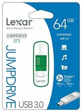 PEN DRIVE LEXAR 64 GB VERDE JUMPDRIVE S73 USB 3.0 NUOVO 45MB/S READ 20MB/S WRITE