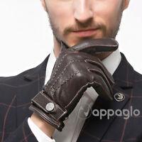 Nappaglo Men GENUINE Nappa Italian Lambskin Leather Gloves Fleece Lining Winter