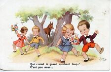 CARTE POSTALE FANTAISIE / ILLUSTRATEUR JIM PATT QUE CRAINT LE GRAND MECHANT LOUP