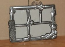 Vtg.Pewter Baby Collage Picture Frame~5 Pictures~Sailboat~Blocks~ Teddy~Rattle