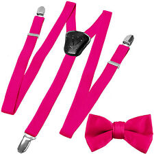 New Y back Kid's Boy's Suspender adjustable strap clip on & bowtie Hot pink