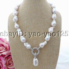 "K093005 20"" White Keshi Pearl Necklace CZ Pendant"