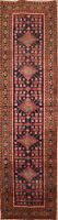 "Vintage Geometric Oriental Tribal Hand-Knotted 13' 9"" x 3' 7"" Runner Rug"