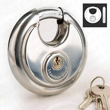 90mm Strong Discus Padlock -STAINLESS STEEL- 3 Keys Round Security Safety Lock