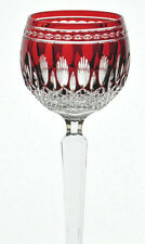 """ONE Waterford Fine Crystal Glass Ruby Red Cut to Clear Clarendon 8"""" Wine Hock"""
