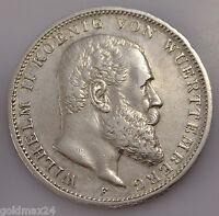 3 Mark Silbermünze dt. Kaiserreich 1909 F - Wilhelm II. König v. Württemberg