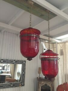 NEW Morroccon Large hand made glass lamps - Red