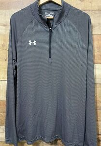 Under Armour Mens XL Heatgear Loose 1/2 Zip Long Sleeve Shirt Black Grey Stripe