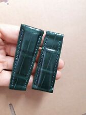 GREEN GENUINE ALLIGATOR CROCODILE LEATHER WATCH BAND STRAP 20mm 16mm (Free Size)