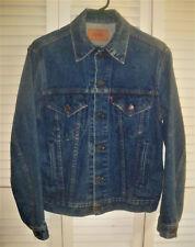 Vtg 1980s Levi Usa Men's Jean Trucker Jacket 70506 Dk Blue Denim Rivets Sz 38 Sm