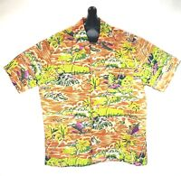 Waikiki 76 Vintage Mens Hawaiian Aloha Shirt Medium Palm Brown