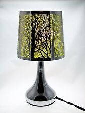 """Stainless Steel Table Touch Lamp, Tree 12.6"""" (Yellow) Silver Color Shade & Base"""