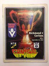 GREAT 1982 VFL GRAND FINAL RECORD RICHMOND VS CARLTON BLUES PREMIERS