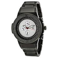 JBW Saxon Black Steel Black Diamond Mens Watch JB-6101-164-C