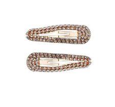 Kitsch Mini Rhinestone Snap Clips, Premium Hair Jewelry, Rose Gold