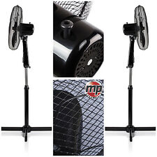 "2 x Daewoo 16"" Electric Portable Air Cooling Floor Standing Pedestal Fan - BLACK"