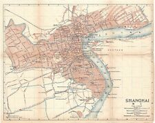 Original antique 1915 very rare map of Shanghai, China- 上海