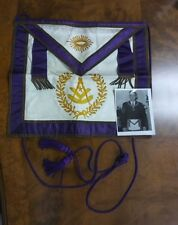 Masonic Apron Purple Silk and White Leather Seeing Eye Square and Compass MS66
