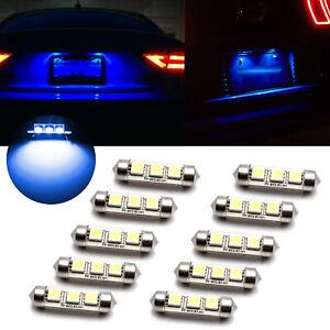 10pcs 8000K Ice Blue Canbus Festoon 6418 C5W 36MM LED License Plate Light Bulbs