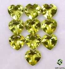Natural Peridot Heart Shape Cut 4 mm To 6 mm Lot 10 Pcs Faceted Loose Gemstones