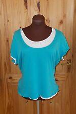 PER UNA M&S turquoise sky blue cyan white bead short sleeve t-shirt top 20 48