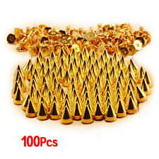 100pcs Screwback Gold Cone Spikes Studs Leathercraft DIY Punk Spots Bullet BF