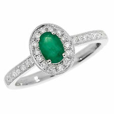 Unbranded Oval Emerald Cluster Fine Rings