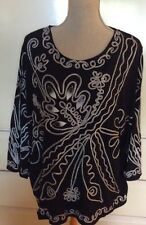 Once Again Plus Size Black 3/4 Sleeve Top 3X Embellished