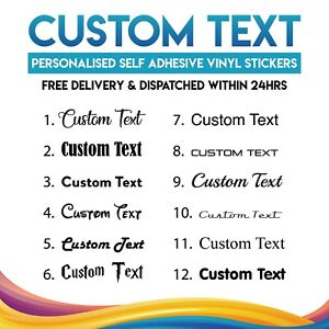 Personalised Custom Name Text Vinyl Sticker Transfer Decal Up to 20x9cm