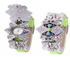 Edle Sole Damenuhr, Silber, Grün, Strass, Kautschuk, Uhr, Armband, Armbanduhr