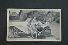 Vintage Car Photo Men w/ Boston Terrier Dog 1910 Cadillac Demi Tonneau 971049