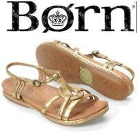 Born Women's Sz 10 Talca Gold Leather Strappy Circle Comfort Sandals Flats