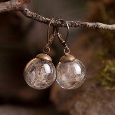 Dandelion handmade dangle earrings, glass vial brass earrings, nature earrings