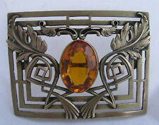 Antique Czech Brass Acanthus Leaves Deco Amber Glass Stone Pin Brooch