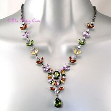 Vintage Deco Rainbow Jewelled Flower Floral Cluster Statement Crystal Necklace