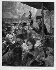 PUNCH AND JUDY PUPPETS FOR SALE VENDOR STREET SCENE IN 1888 CHRISTMAS IN GERMANY