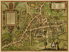 Old Map Cambridge in 1572, city plan by Georg Braun - repro, vintage, historical