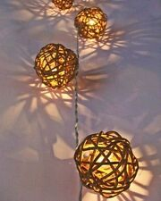 Battery LED Brown Rattan Wicker Balls Fairy Light String 3 Meters Long Portable