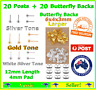 20x Earring Stud Posts Post Findings 4mm Pad 1.2cm Length 20x Butterfly Backs