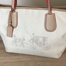 COACH fabric and cream leather handbag hand bag