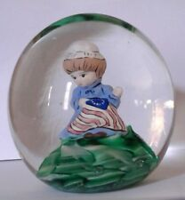 JOE ST CLAIR Art Glass BETSY ROSS Paperweight Sulphide Flag RED White BLUE