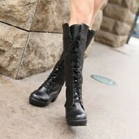 Tall Riding Womens RUNWAY SPIKE LEATHER Lace Up Block Heels Knee High Boots Shoe