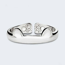 Korean Women's Silver Plated Cat Ear Pattern Finger Opening Ring Wedding Jewelry