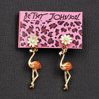 Betsey Johnson Enamel Crystal Flower Flamingo Bird Earbob Dangle Earrings Gift