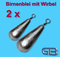2 x Birnenblei mit Wirbel, 3g, - 60g Angelblei, Grundblei, Karpfenblei.
